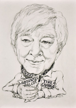 Campaign sketch by Manitowoc Country artist Bonita Budish. Trask is a fervent supporter of the arts.