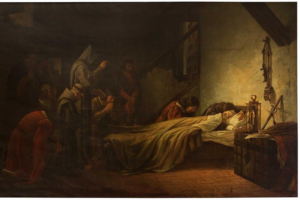 Pintura sobre la muerte de Colón de Francisco Ortego Crédito: archivo