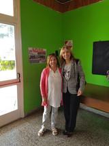 con Ingrid, directora de la Escuela n° 12 Brigadier Hornos