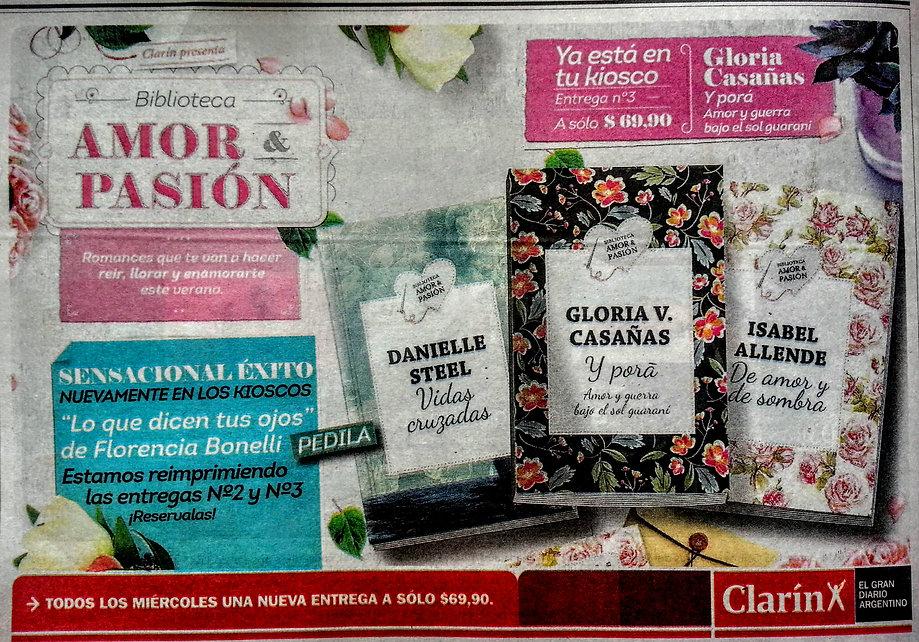 La novela Y PORA publicada por el DIARIO CLARIN de ARGENTINA - coleccionables