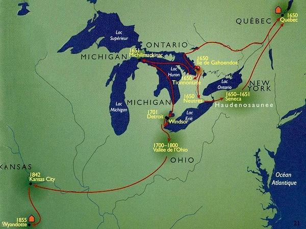 La Huronía, territorio de los nativos Huron.