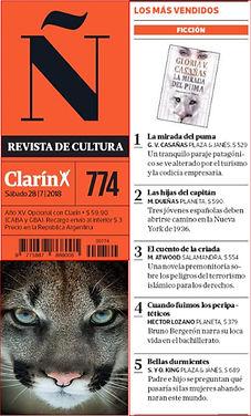 Ranking Bestsellers revista Ñ grupo Clarín Romanic Novels Latinoamericana Literature Historical Gloria V. Casanas La Mirada del Puma