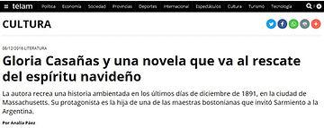 TELAM agencia de noticias argentinas - Gloriva V. Casañas Casanas y su última novela navidad Noche de Luna larga