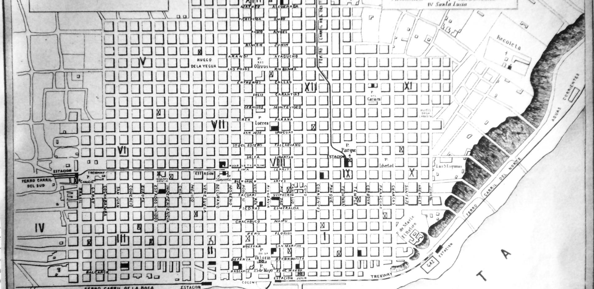 Mapa de la Ciudad de Buenos Aires hacia 1870