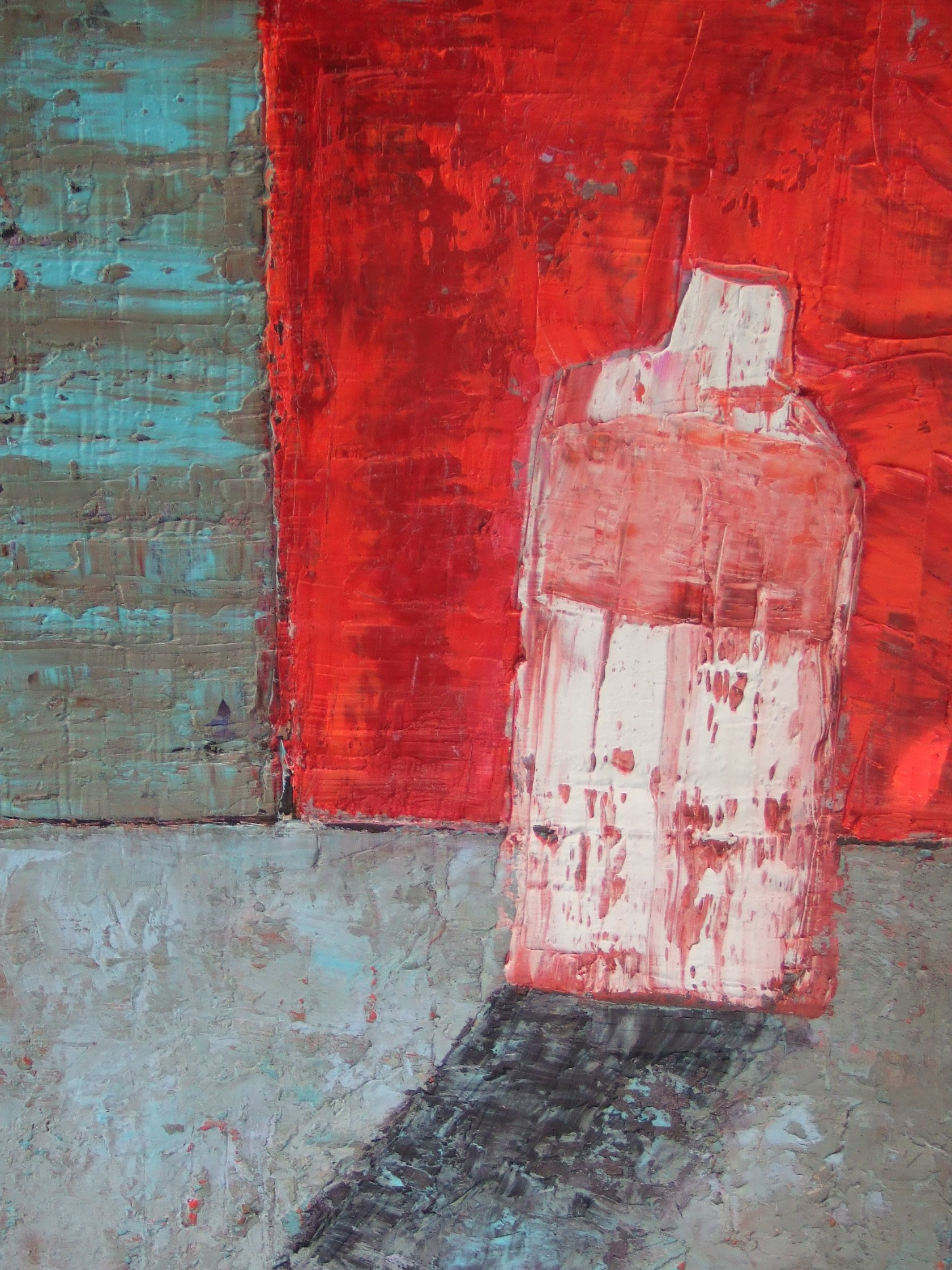 White Bottle with Red Wall
