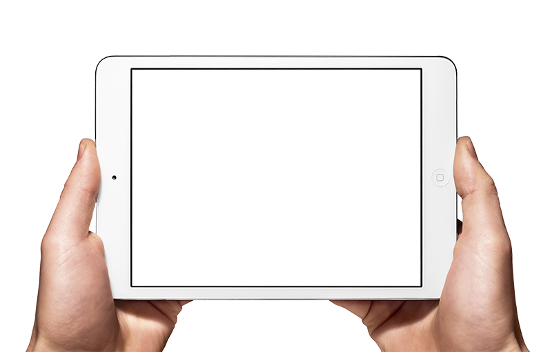 An Ipad with hands holding it up to play a video
