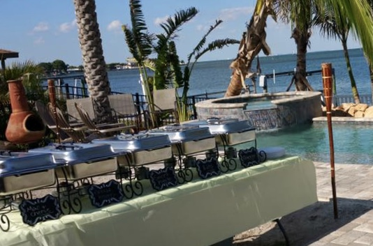 Waterfront backyard catering