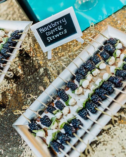 Blackberry Caprese Skewers, Spinach Atic
