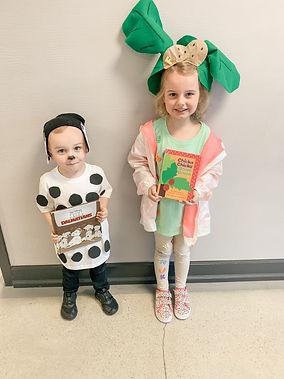 Two preschool students dressed like their favorite book.
