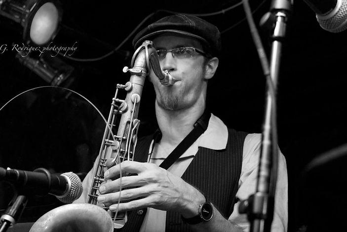 Chris playing tenor saxophone