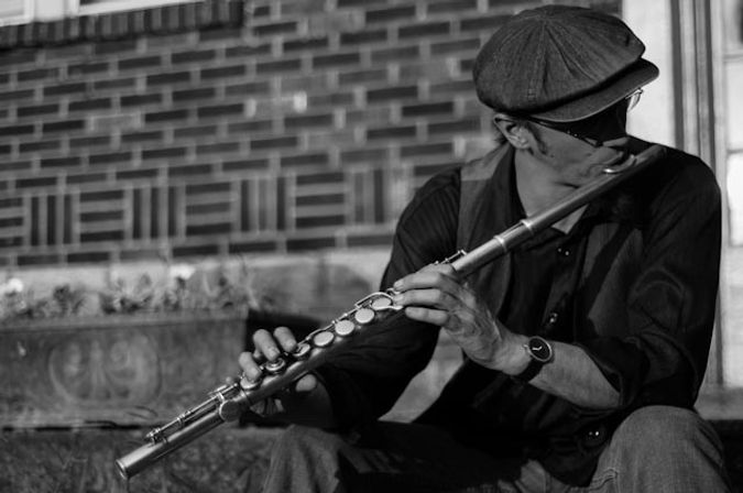 Chris playing flute