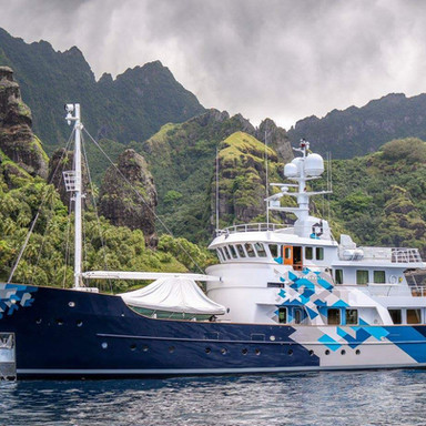Anchored beneath the peaks of the Marquesa's - French Polynesia