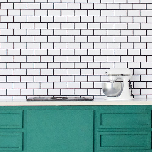 Subway Tile (White with Black Grout)