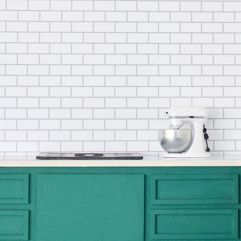 Subway Tile (White with Gray Grout)