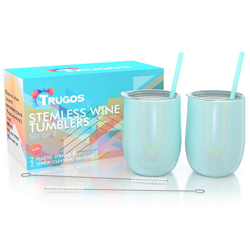 Sparkly Stemless Stainless Steel Wine Tumblers (Set of 2) -Turquoise