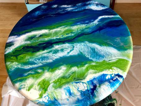 Ocean Table Top Resin Colors that Pop!