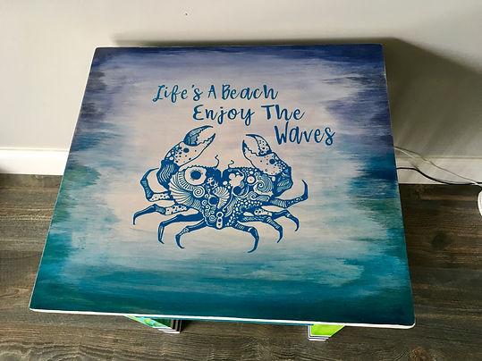 Cricut Vinyl & painted unique side table