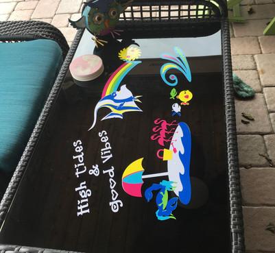 Beachy Cricut Outdoor Vinyl Table Top