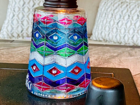 Great Summer Kids Activity: Painted Tabletop Tiki Torches in Permanent Decoart Glass Paint Markers!