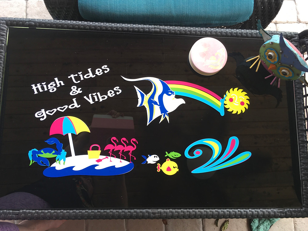 Coffee table with Cricut Images & Outdoor Vinyl