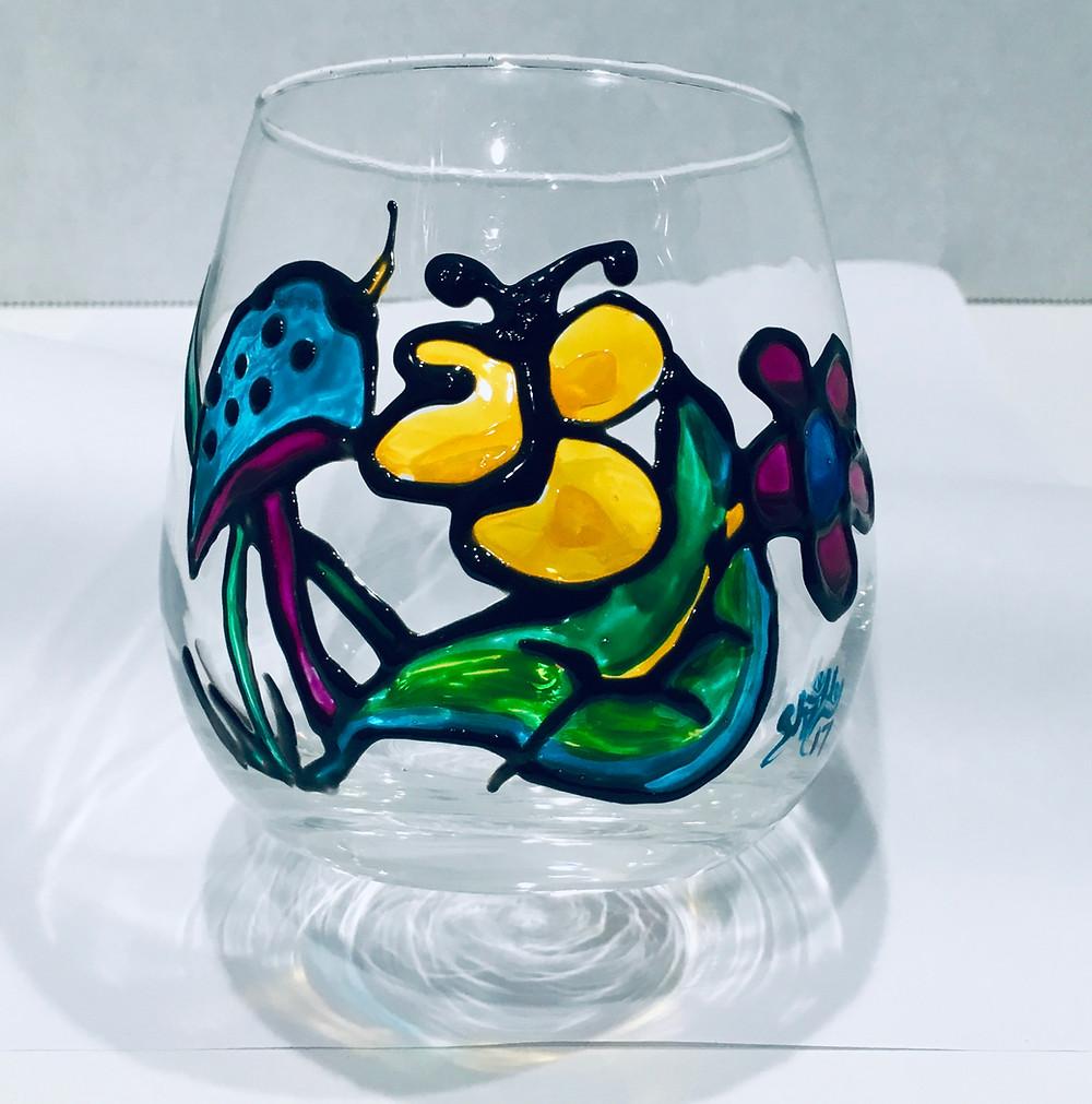 #DIY #Wineglass #painted #enamelpaint #craft
