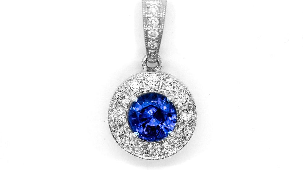Ceylon Sapphire Pendant| 60HP | 6.1mm | 1.01ct w/.34ct dia | 3300K