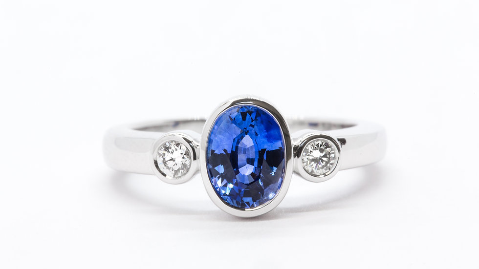 Ceylon Sapphire Bezel | 35 BR | 1.24ct dia w/.16 ct | 2,300K