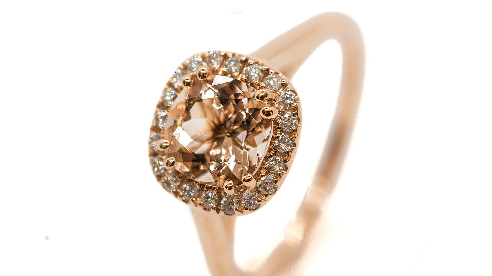 Morganite Halo Ring | HR7065 | 1.26 CT. with .15 CT dia. | 1250K