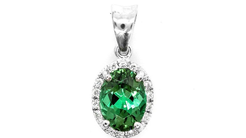 Green Tourmaline Pendant | 86HP | 8x6 ov | 1.32ct w/.08ct dia | 870K