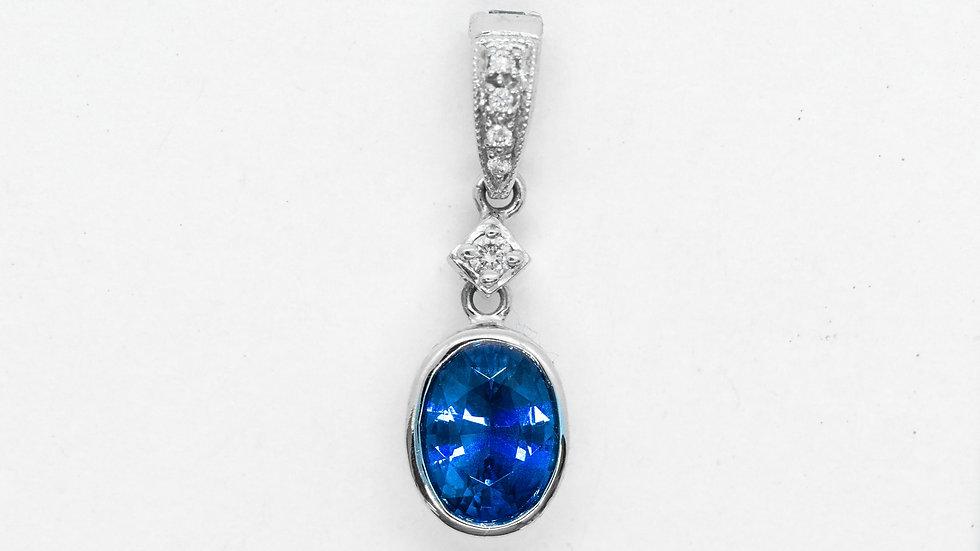 Ceylon Sapphire Pendant | 8x6 ov | 1.35ct w/.05ct dia | 1300K