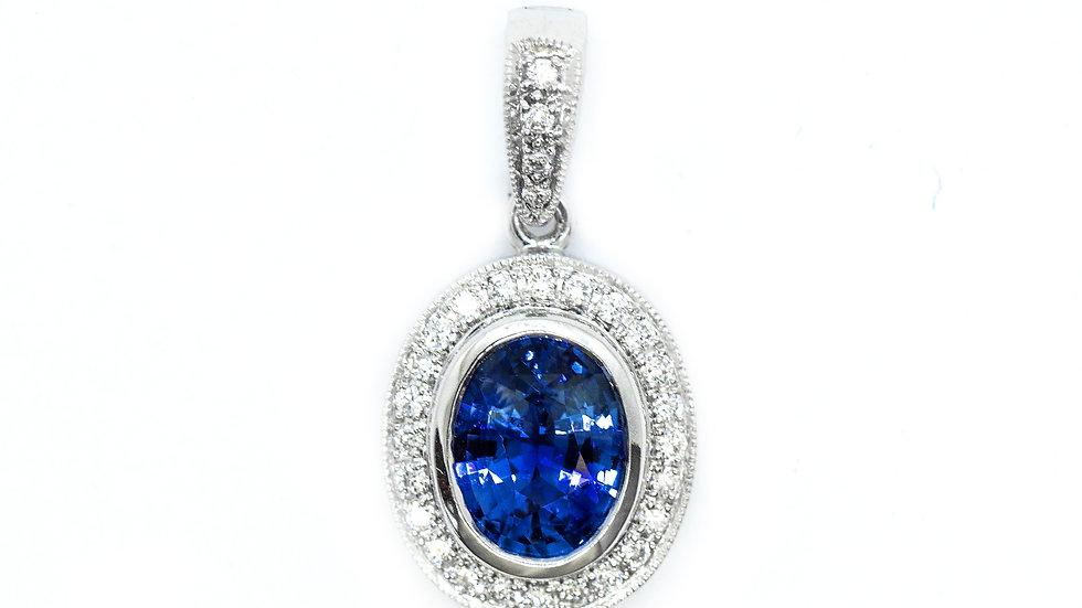 Ceylon Sapphire Pendant| 86HP | 8x6 ov | 1.34ct w/.16ct dia | 2500K