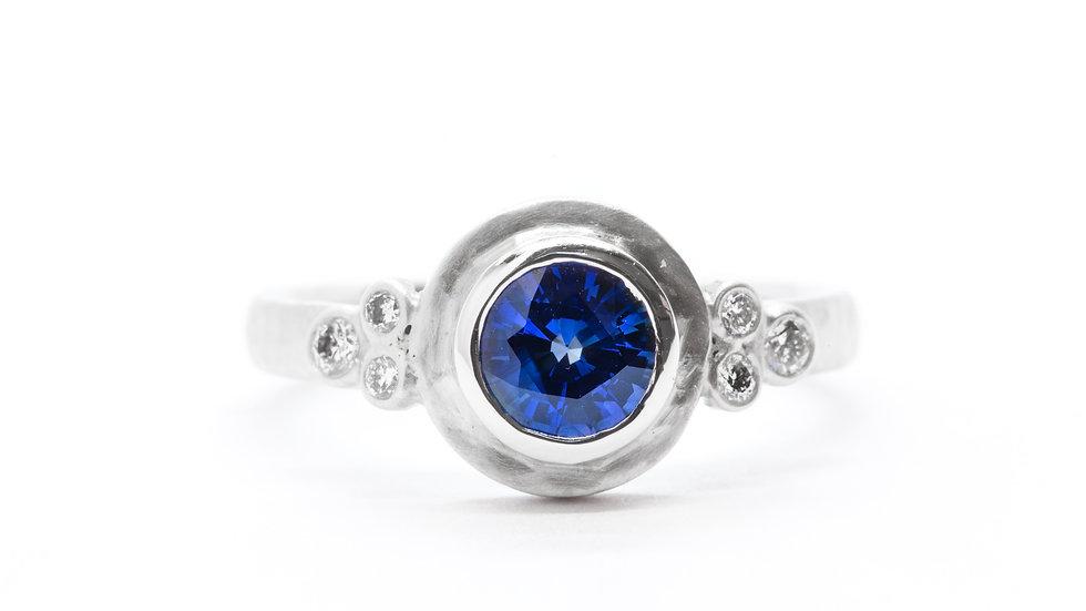 Ceylon Sapphire Bezel | 14k/w CAD | .83ct dia w/.12 ct | 2,700K