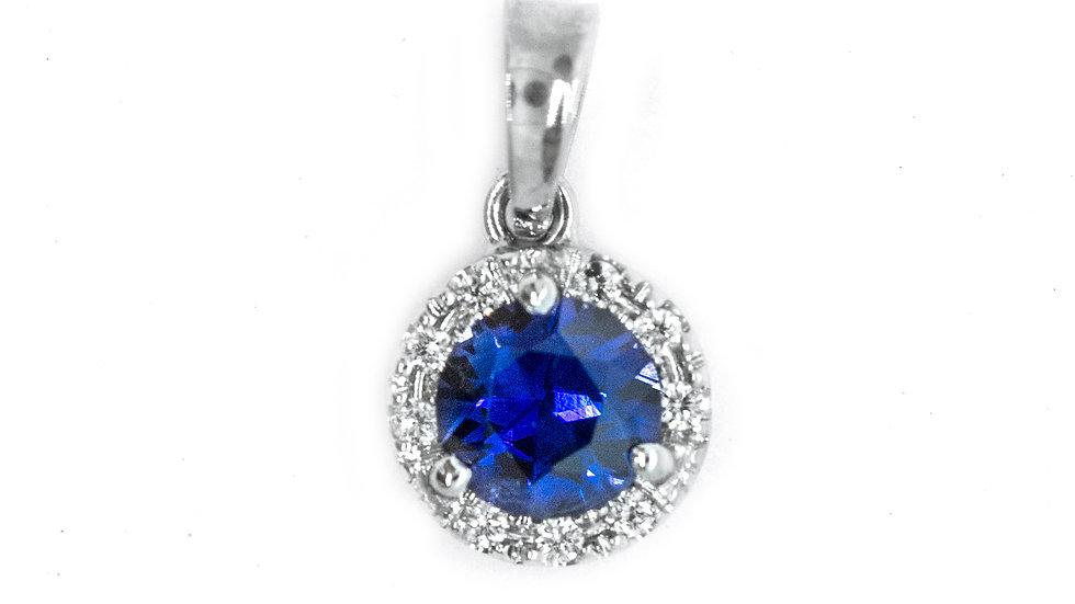 Ceylon Sapphire Pendant | 47HP | 4.7 mm rd | .53ct w/.05ct dia | 790K