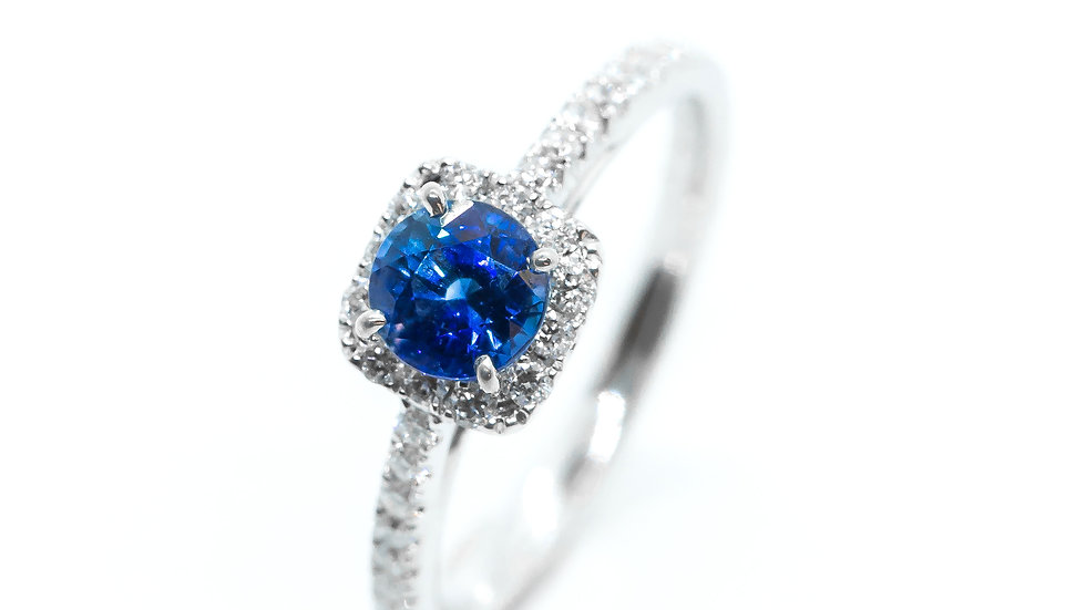 Ceylon Sapphire Halo Ring | HR55 | .86CT w/ .28CT dia | 2200K