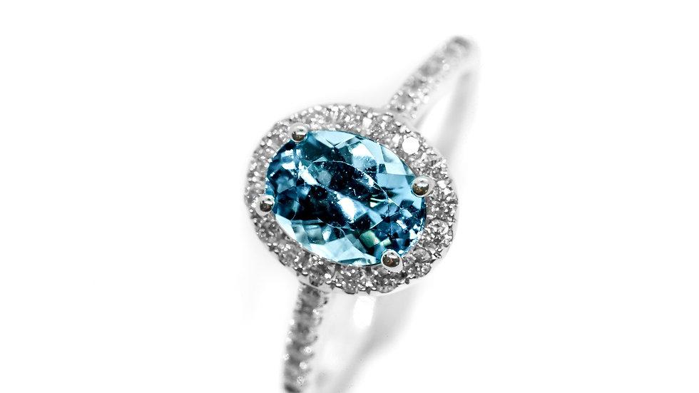 Aquamarine Halo Ring | HR86 |1.32 CT w/ .28CT dia | 1850K