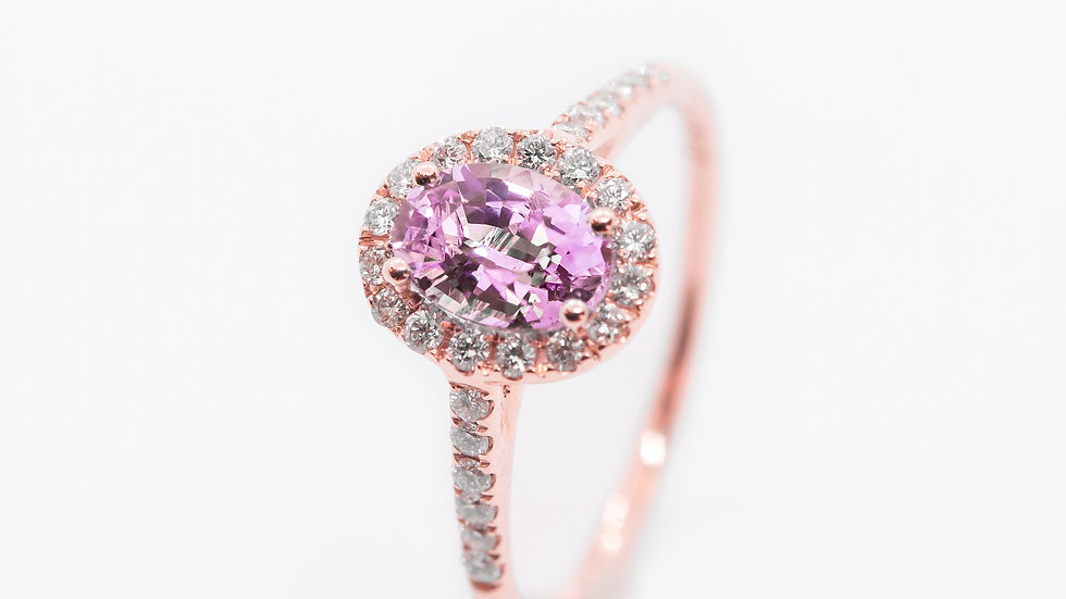 Pink Sapphire Halo 14K Pink Gold Ring | HR75 | 1.1CT w/ .72CT dia | 2150K