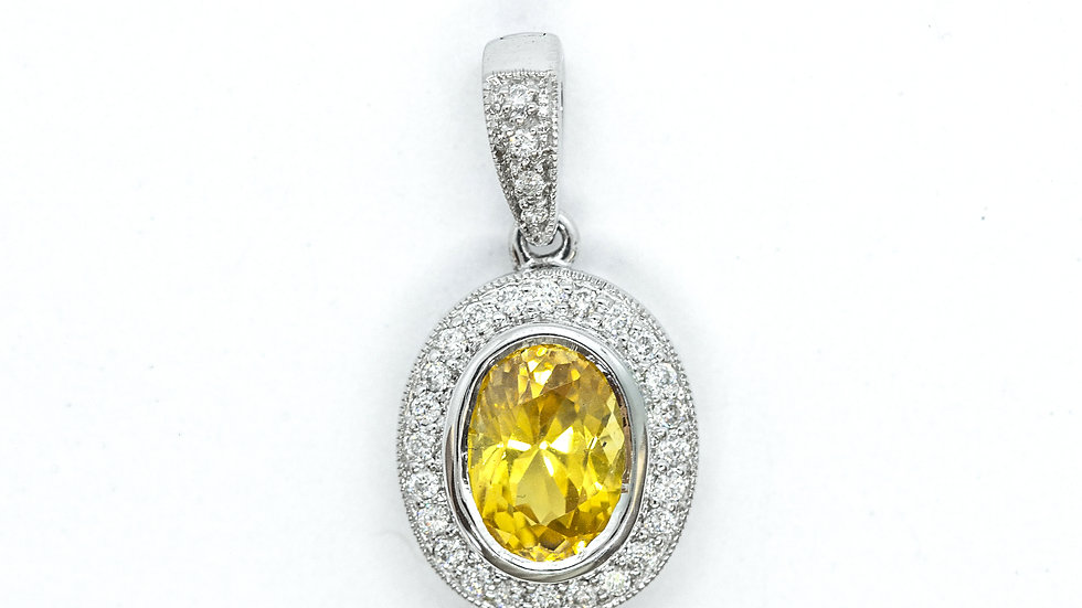 Yellow Sapphire Pendant   2.06ct w/ .18ct dia   1750K