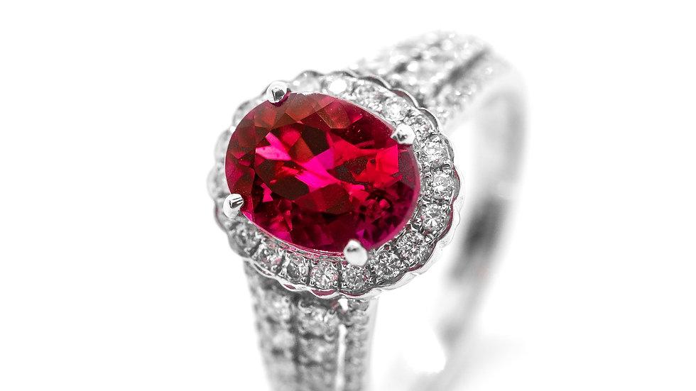 Pink Tourmaline Ring | 2.50 CT w/ .68 CT dia | 3500K