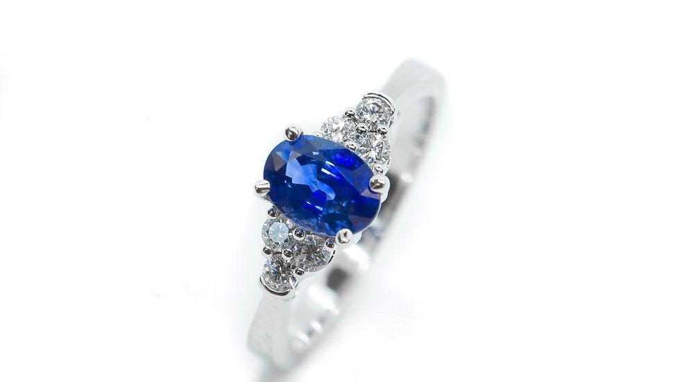 Ceylon Sapphire 7-Stone Ring | SS75 | 1.14CT w/ .22CT dia | 2400K