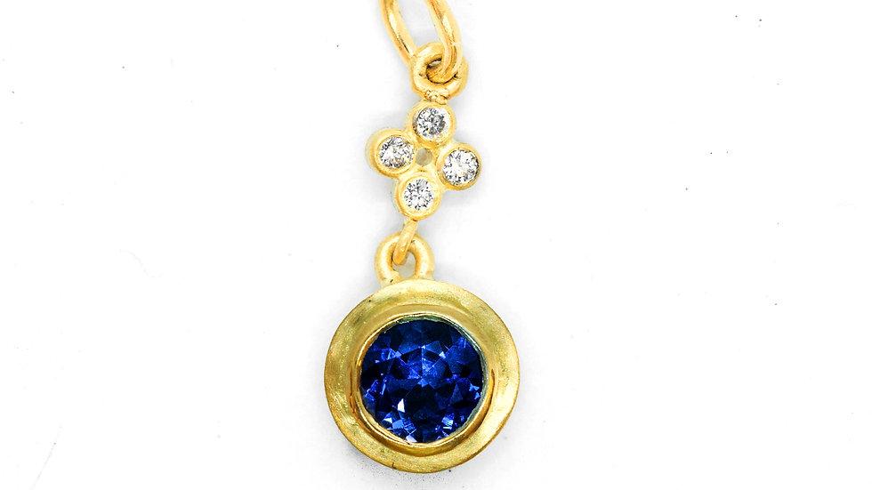 Ceylon Sapphire Pendant | inv# CADP | 18k/y | 5.5mm rd | .72ct w/.05ct | 1850k
