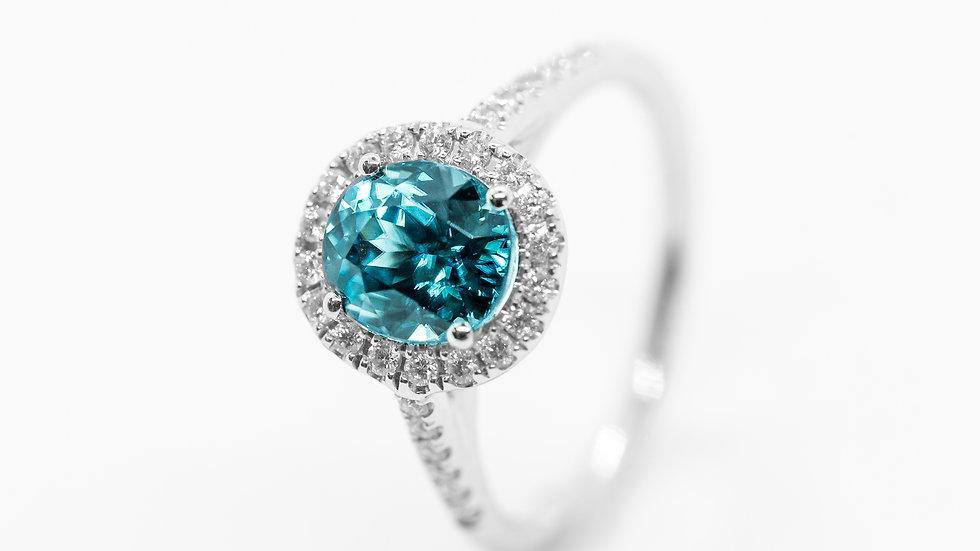 Blue Zircon Halo Ring | HR | 2.63CT w/ .26CT dia | 1900K