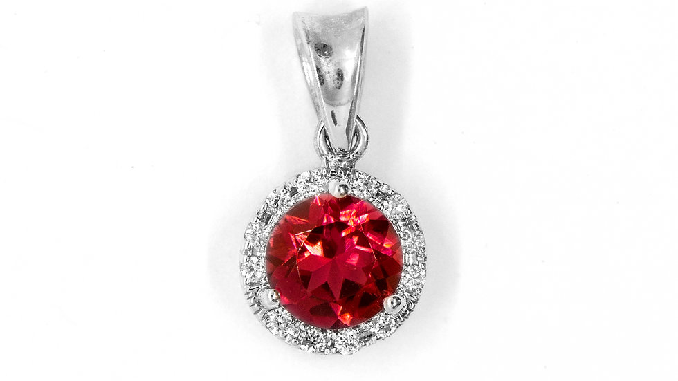 Pink Tourmaline Pendant | 61HP | 6.1mm rd | .84ct w/.07ct dia | 600K