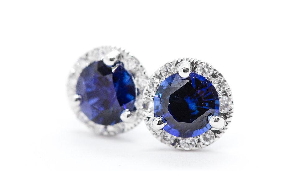 Ceylon Sapphire Halo Studs | HE50 | 1.17ct dia w/.11 ct | 2,100K