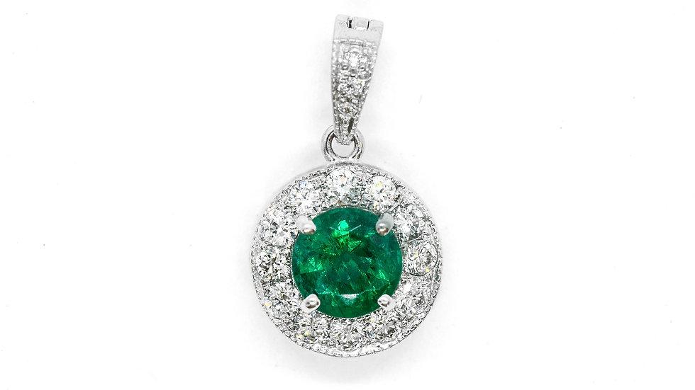 Emerald Pendant | PPSS |  .65ct w/.26ct dia | 2400K
