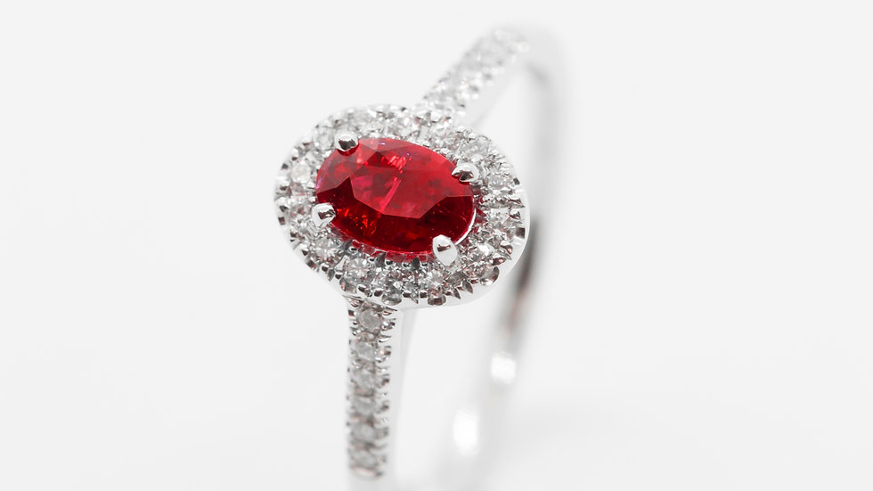 Ruby Halo Ring | HR64 | .59CT w/ .20CT dia | 1950K