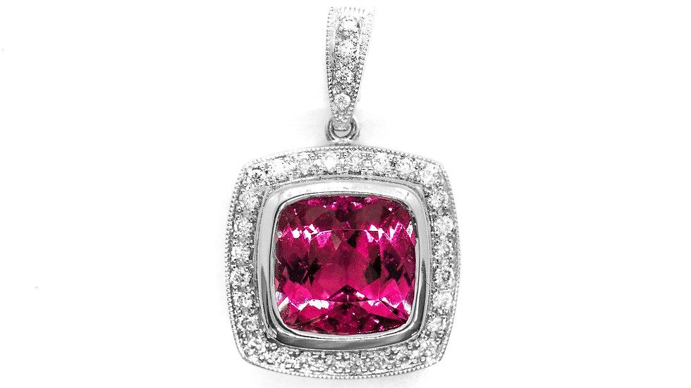 Pink Termaline Pendant | 9mm cush | 3.50ct w/.22ct dia | 2200K