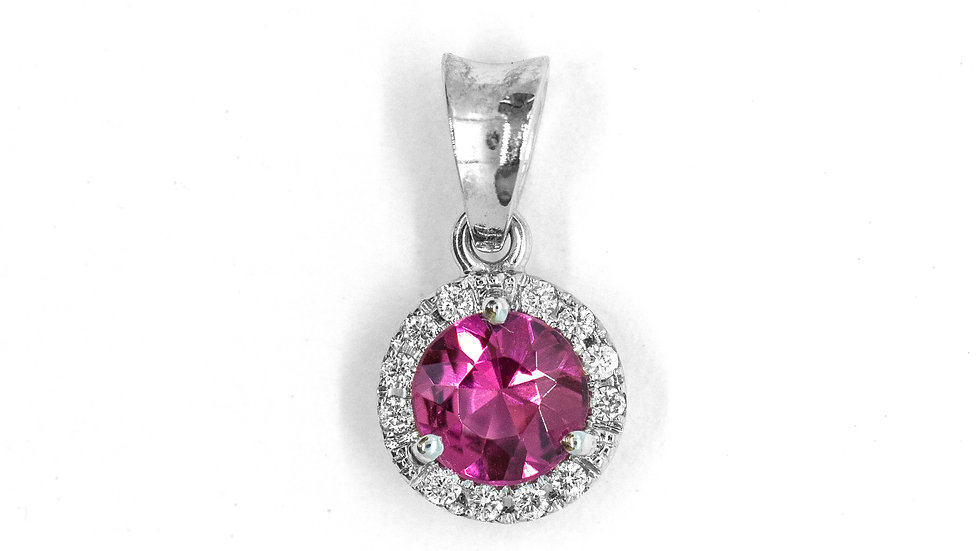 Pink Tourmaline Pendant | 55HP | 5.5mm rd | .57ct w/.07ct dia | 480K