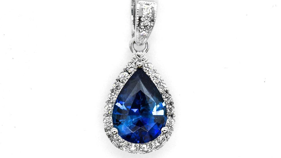 Ceylon Sapphire Pendant  8565HP   8x5.8 p/s   .97ct w/.11ct dia   2100K