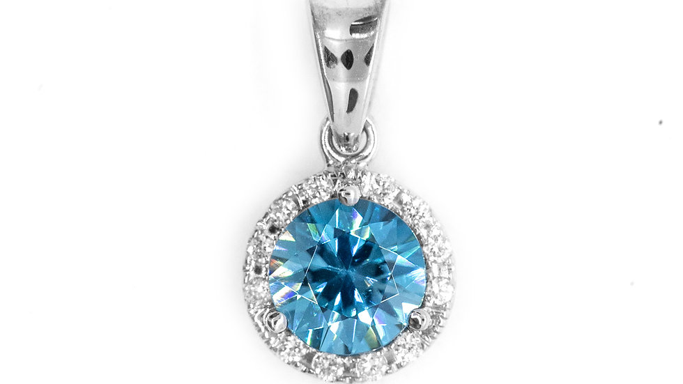 Blue Zircon Pendant | 60HP | 6mm rd | 1.13ct w/.07ct dia | 550K