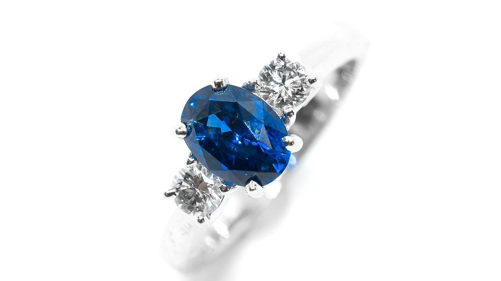 Ceylon Sapphire 3-Stone Ring | TT86 | 1.64CT w/ .34CT dia | 3750K